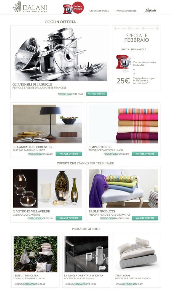 La prima community di shopping online italiana for Dalani arredamento