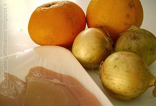ingredienti del pollo all'arancia e menta