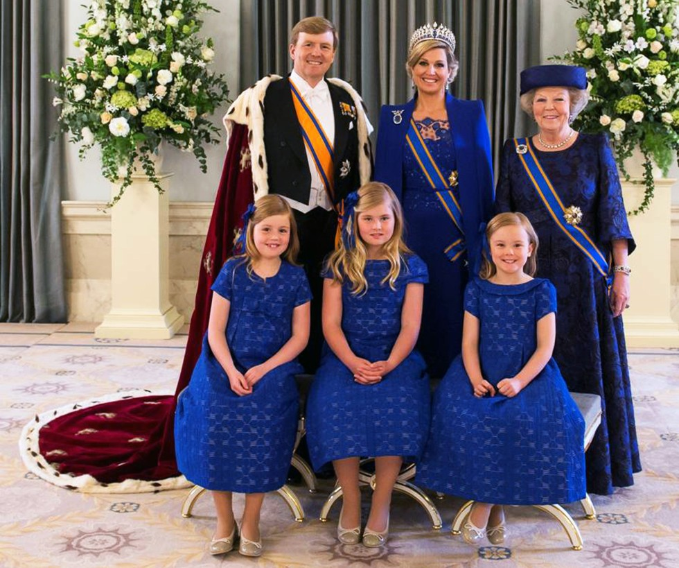 Handout photo of The Netherlands' King Willem-Alexander and his wife Queen Maxima posing with their daughters and his mother Princess Beatrix, at the Royal Palace in Amsterdam